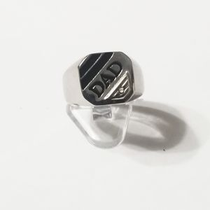 New stainless steel dad ring with black onyx